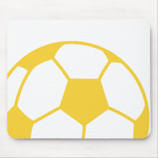 Yellow Amber Soccer Ball Mouse Pad