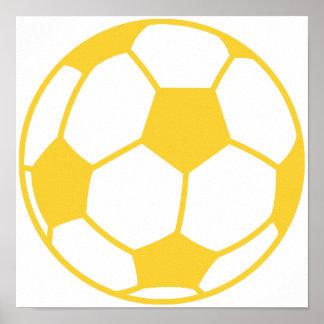 Yellow Amber Soccer Ball Print