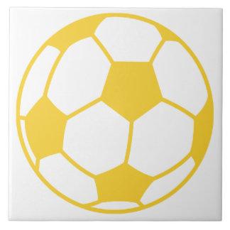 Yellow Amber Soccer Ball Tile