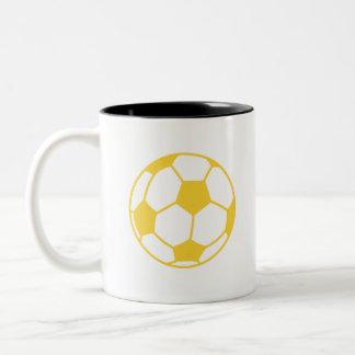 Yellow Amber Soccer Ball Two-Tone Coffee Mug