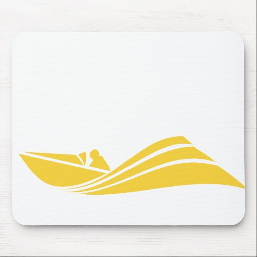 Yellow Amber Speed Boat Mouse Pads