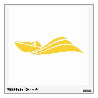 Yellow Amber Speed Boat Wall Sticker