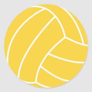 Yellow Amber Volleyball Classic Round Sticker