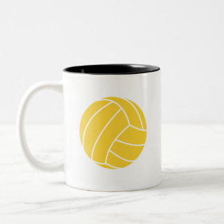 Yellow Amber Volleyball Two-Tone Coffee Mug