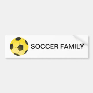 Yellow American Soccer Ball or Football Bumper Sticker