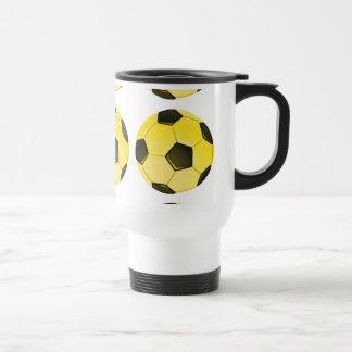 Yellow American Soccer Ball or Football Travel Mug