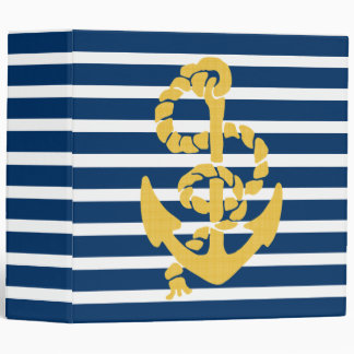 Yellow Anchor Blue And White Striped Background Binder