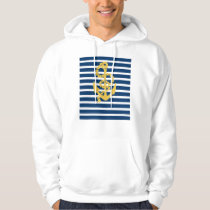 Yellow Anchor Blue And White Striped Background Hoodie