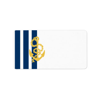 Yellow Anchor Blue And White Striped Background Label