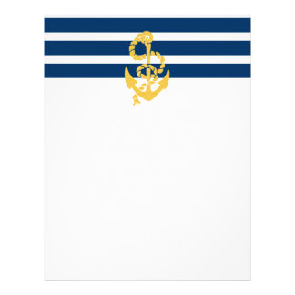 Yellow Anchor Blue And White Striped Background Letterhead Design