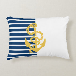 Yellow Anchor Blue And White Striped Background Accent Pillow
