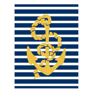 Yellow Anchor Blue And White Striped Background Postcard