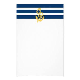 Yellow Anchor Blue And White Striped Background Stationery