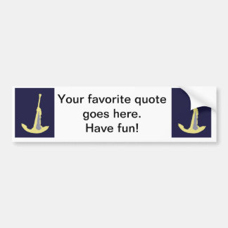 Yellow Anchor - Navy Blue Bumper Sticker