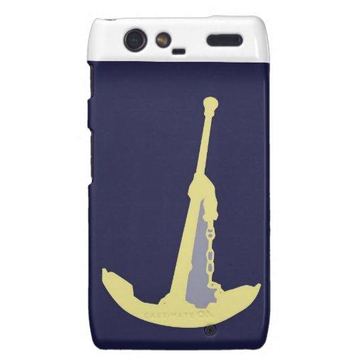 Yellow Anchor - Navy Blue Motorola Droid RAZR Cover