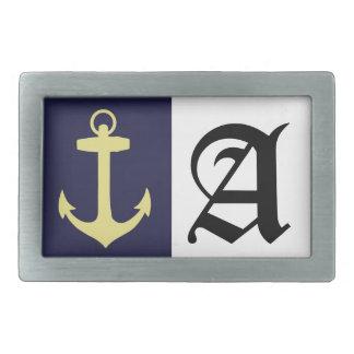 Yellow Anchor - Navy Blue Rectangular Belt Buckle