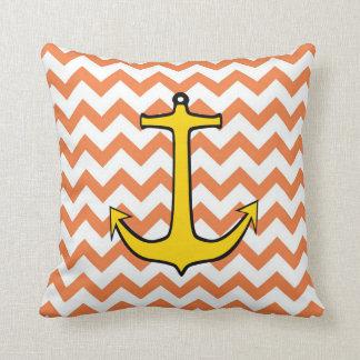Yellow Anchor on a Orange and White Chevron Throw Pillow