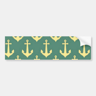 Yellow Anchor on Green Billiard Background Pattern Bumper Sticker