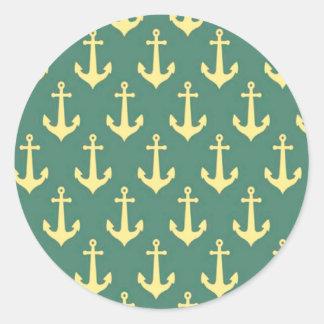 Yellow Anchor on Green Billiard Background Pattern Classic Round Sticker