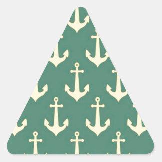 Yellow Anchor on Green Billiard Background Pattern Triangle Sticker