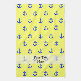 Yellow anchor pattern hand towel