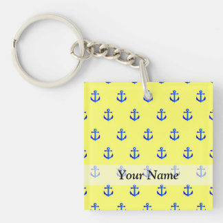 Yellow anchor pattern keychain