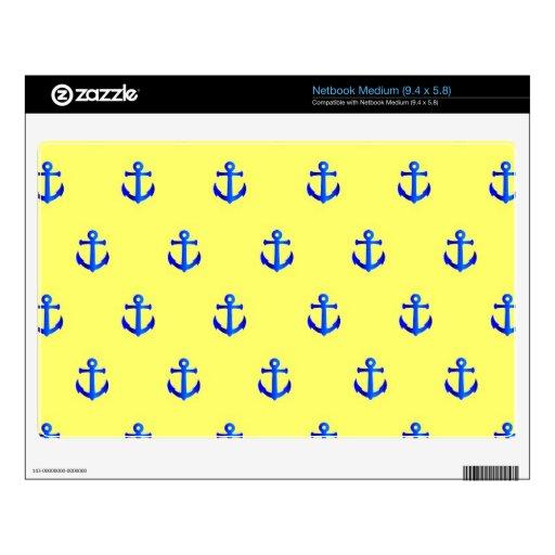 Yellow anchor pattern medium netbook decals