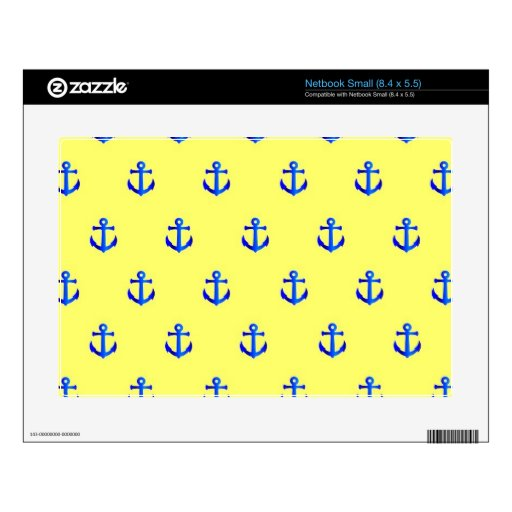 Yellow anchor pattern netbook decals