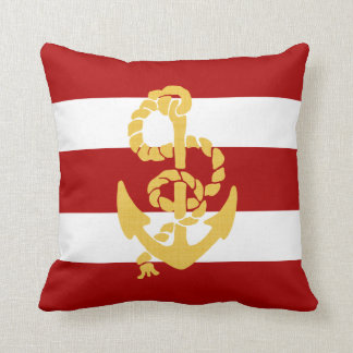 Yellow Anchor Red And White Striped Background Throw Pillow