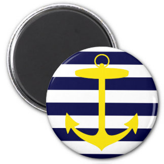 Yellow Anchor Silhouette 2 Inch Round Magnet