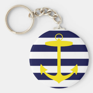 Yellow Anchor Silhouette Key Chains