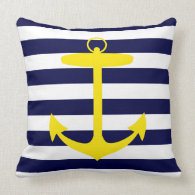 Yellow Anchor Silhouette Pillow