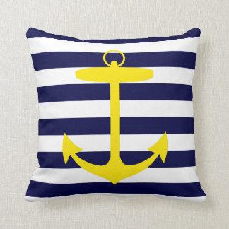 Yellow Anchor Silhouette Throw Pillow
