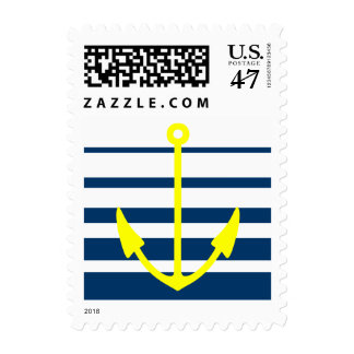 Yellow anchor stamps with blue and white stripes