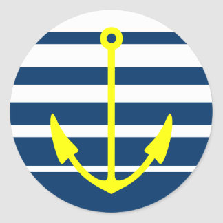 Yellow anchor stickers with blue and white stripes