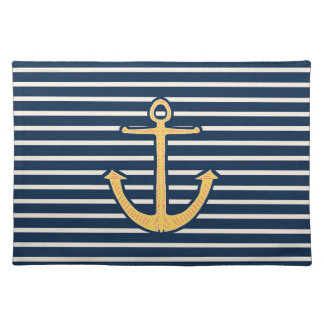 Yellow Anchor Stripes Cloth Placemat