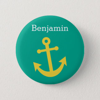Yellow Anchor with Custom Name - Emerald Button