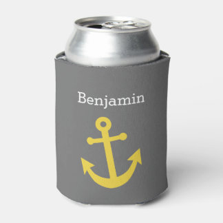 Yellow Anchor with Custom Name - Gray Can Cooler