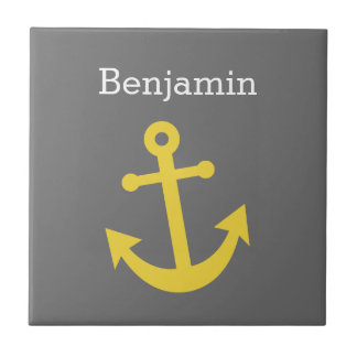 Yellow Anchor with Custom Name - Gray Ceramic Tile
