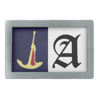 Yellow Anchor with Red in Navy blue background. Rectangular Belt Buckle