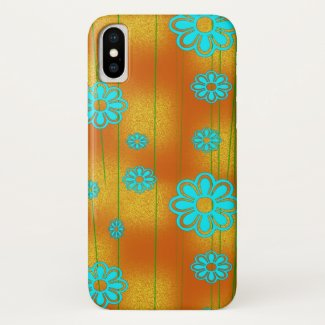 Yellow and Aqua Flower Power iPhone XS Case