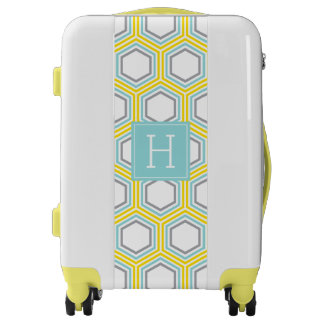 Yellow and Aqua Hexagons Pattern and Monogram Luggage