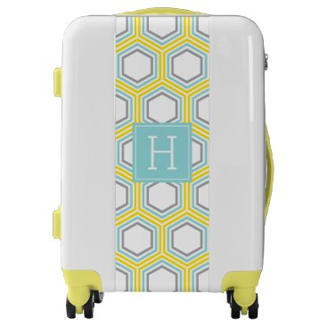 heartlocked Yellow and Aqua Hexagons Pattern and Monogram Luggage