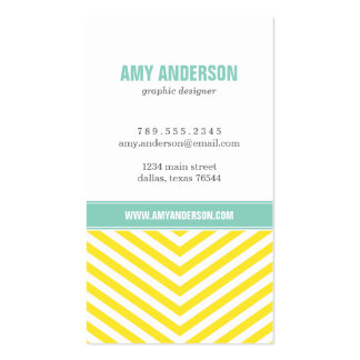 Yellow and Aqua Modern Chevron Stripes Double-Sided Standard Business Cards (Pack Of 100)