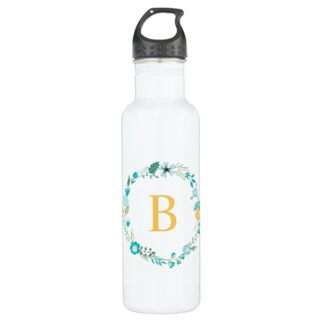 Yellow and Aqua Monogram Floral Wreath Stainless Steel Water Bottle