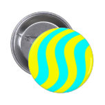 Yellow And Aqua Swirled Stripes Buttons