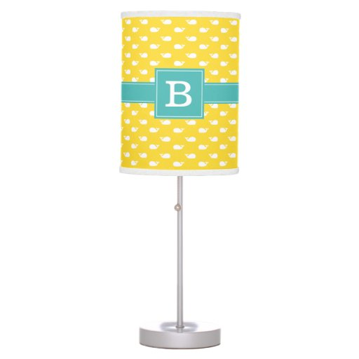 Yellow and Aqua Whimsical Whales Pattern Monogram Desk Lamp