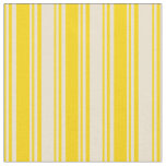 [ Thumbnail: Yellow and Beige Colored Lines Fabric ]
