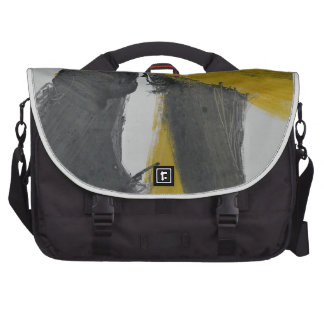 Yellow And Black Abstract 2 Bag For Laptop