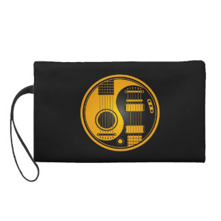 Yellow and Black Acoustic Electric Guitars Yin Yan Wristlet Clutch